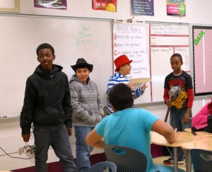 Students act out John Henry skit, making the story come to life!