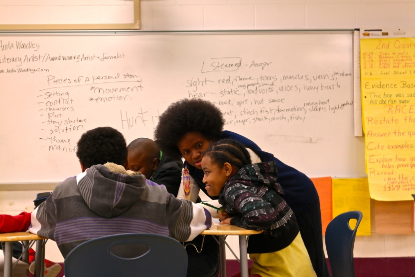 Anita and several students discuss topics for their personal narratives.